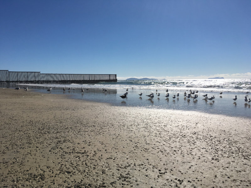 An image of the border fence that separates the US and Mexico in a beach area.