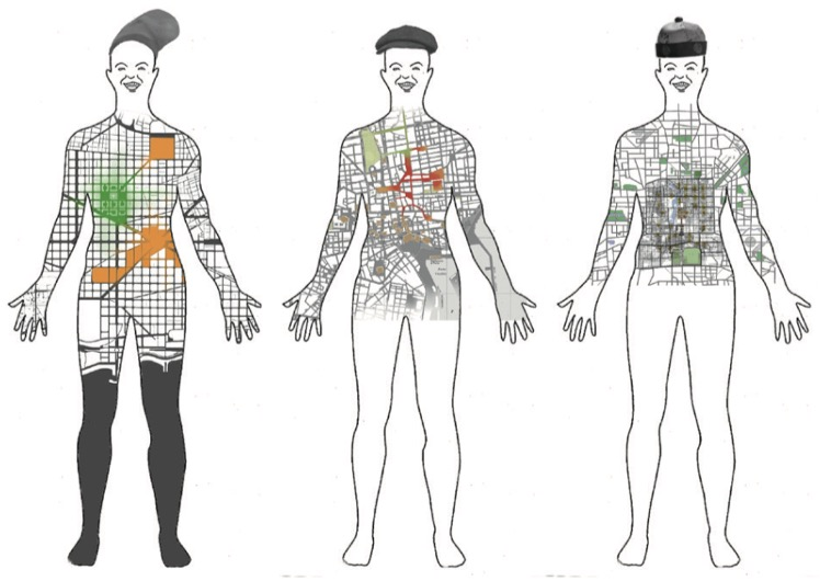 Three figures of humans side by side. Each figure wears a different hat. Inside the body contour of each figure one can see urban maps with different places highlighted or colored.
