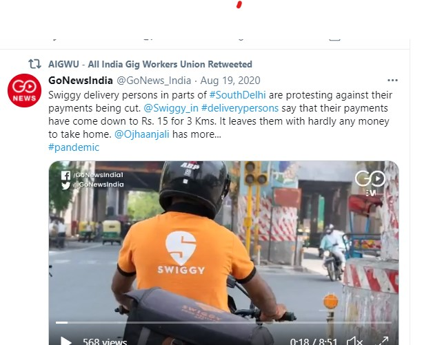 Screenshot of tweet from the All India Gig Wrokers Union about a news reel video regarding the Swiggy delivery workers protest, accompanied by screengrab of a delivery worker on a motorbike wearing an Orange T-Shirt with the Swiggy company's logo.