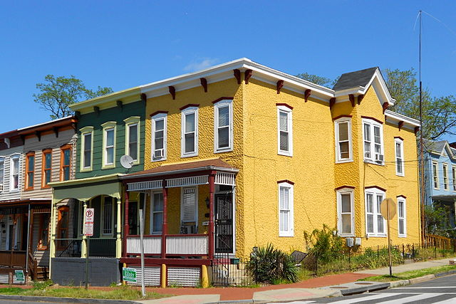 Four row houses on 13th Street and W Street, SE in historic Anacostia.