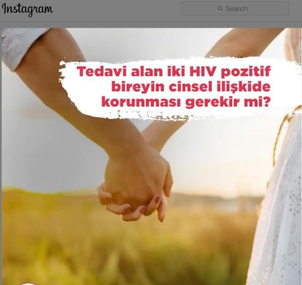 "A man and a woman, presumably a cis heterosexual couple, holding hands. There is a text that reads, ""Tedavi alan iki HIV pozitif bireyin korunması gerekir mi?"""