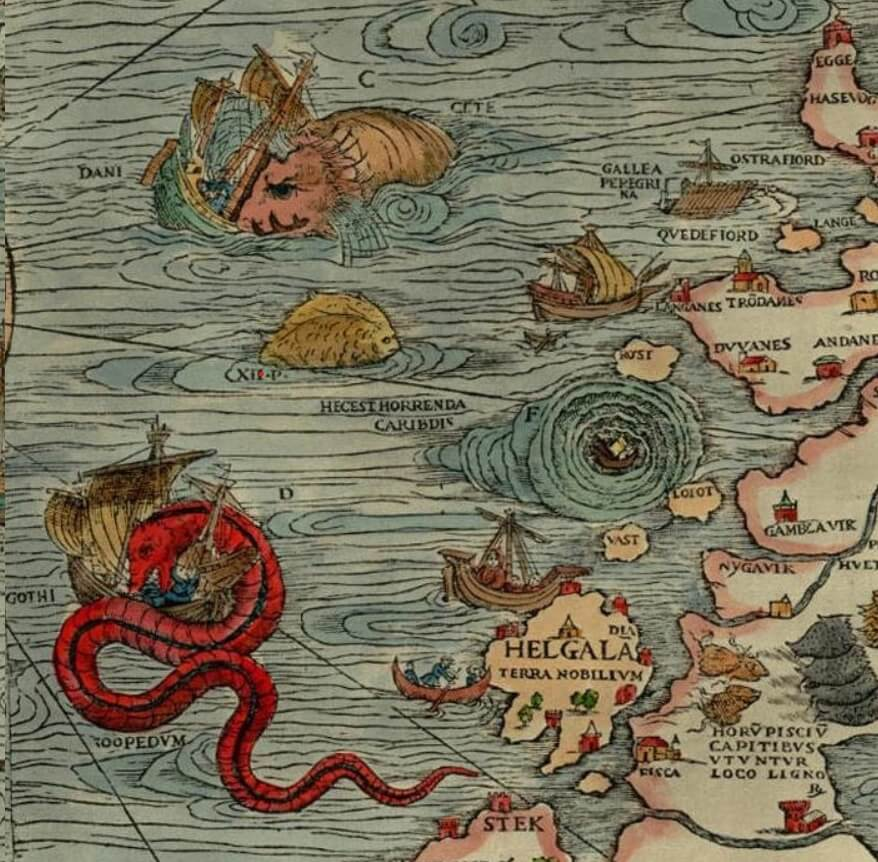 A restored section of Swedish Archbishop, writer, and cartographer Olaus Magnus' map of Scandanavia. The map features red buildings dotting the land, a ship caught in a whirlpool, and a sea serpent attacking a ship, among other mythical land and sea creatures.