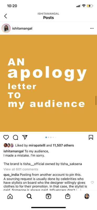 """Screenshot of Instagram post by Ishita set against yellow background with white text that says"""" An apology letter to my audience"""" with black text underneath of caption and comments."""